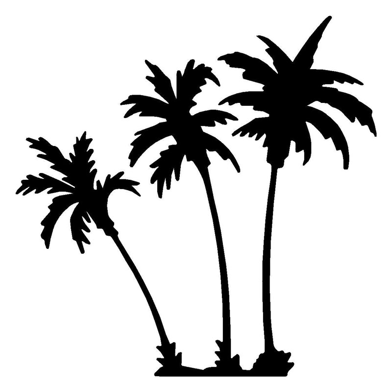 9.5*9.5CM Car Styling Palm Trees Car Sticker Vinyl Decals Motorcycle Accessories Black Silver C2-0646 hot sale 1pc longhorn hilux 900mm graphic vinyl sticker for toyota hilux decals badges detailing sticker car styling accessories