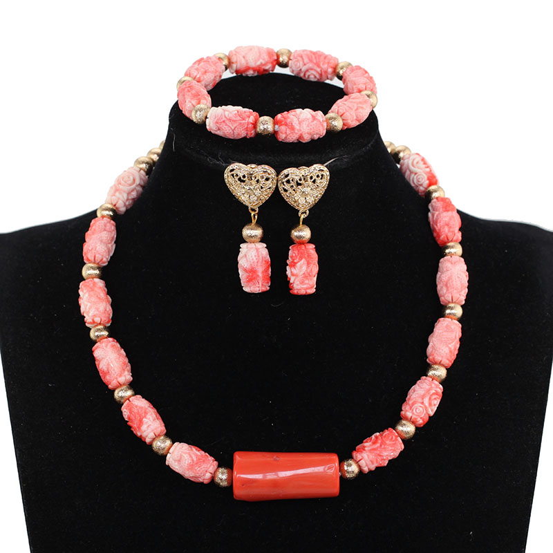 New Pink Coral Beads Coralline beads Carvings of Coral Beads Necklace Suit Free Shipping PJW123