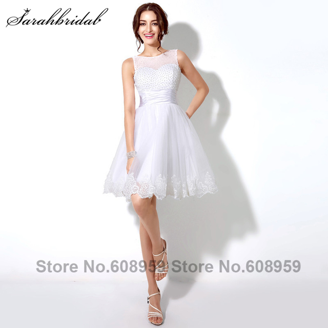 9f329a70c57 Fashion White Pearls Appliques Short Homecoming Dresses Elegant Sleeveless  A-line Prom Dresses Vestido De Festa curto SD180