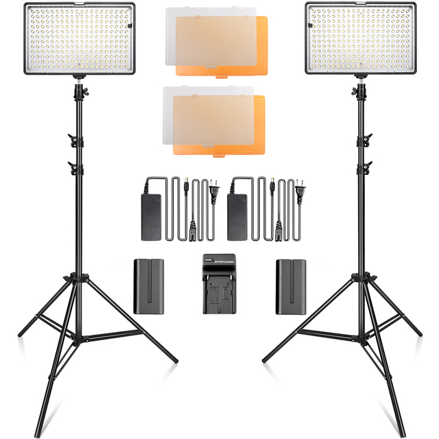 Led video light Kit 240 LED photography Lighting Dimmable Ultra High Power Panel Digital Camera DSLR Camcorder with light stand