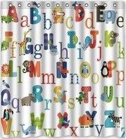 CHARMHOME Custom ABC Alphabet Shower Curtains Waterproof Fabric Polyester Bathroom Shower Curtain