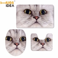 HUGSIDEA Cat Face Print Soft Thickening Bathroom Warm Toilet 3Pic/Set Toilet Seat Toilet Cushion Cover U Shape Toilet Bath Mat