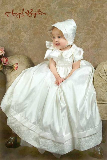 2016  Long Newborn Silk Satin White/Ivory Lace Baby Infant Boys Girls Formal Christening Gown Baptism Robe Dress With Bonnet