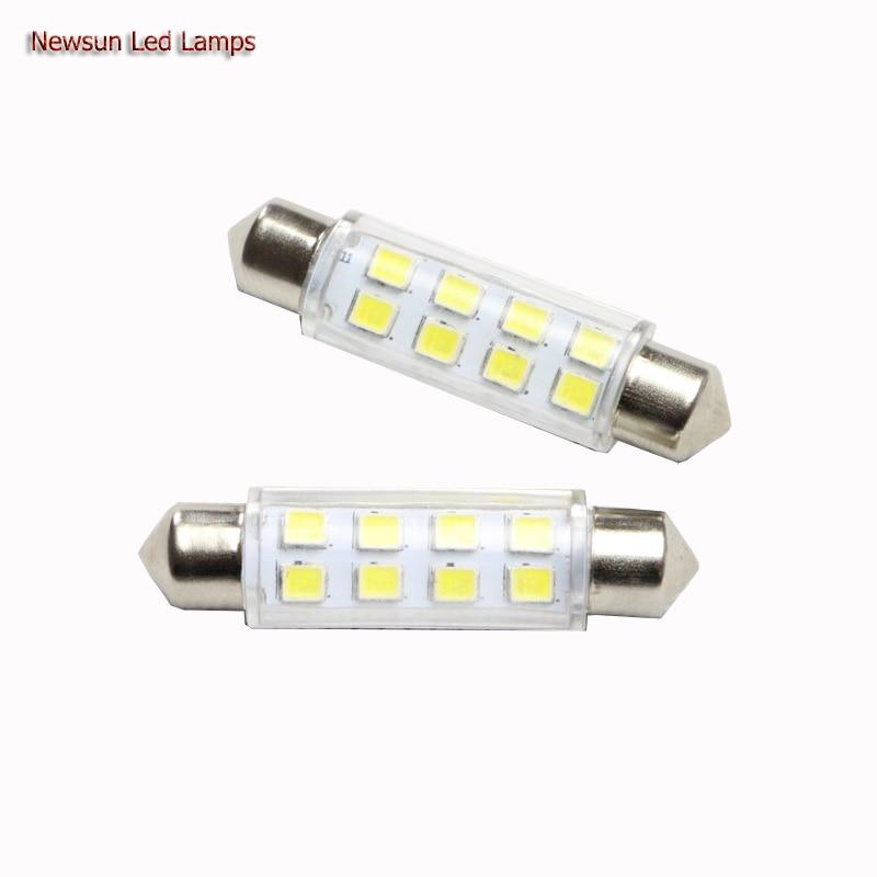 2PCs 44MM Universal <font><b>Led</b></font> Festoon Light <font><b>3825</b></font> 8SMD Chip C5W <font><b>Led</b></font> Auto Dome Lamp Pathway Lighting 12V Work Lamp With Cover White