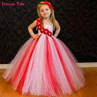 White With Red Flower Girls Tutu Dress Princess Christmas Costumes Children Wedding Tulle Dress Kids Girls