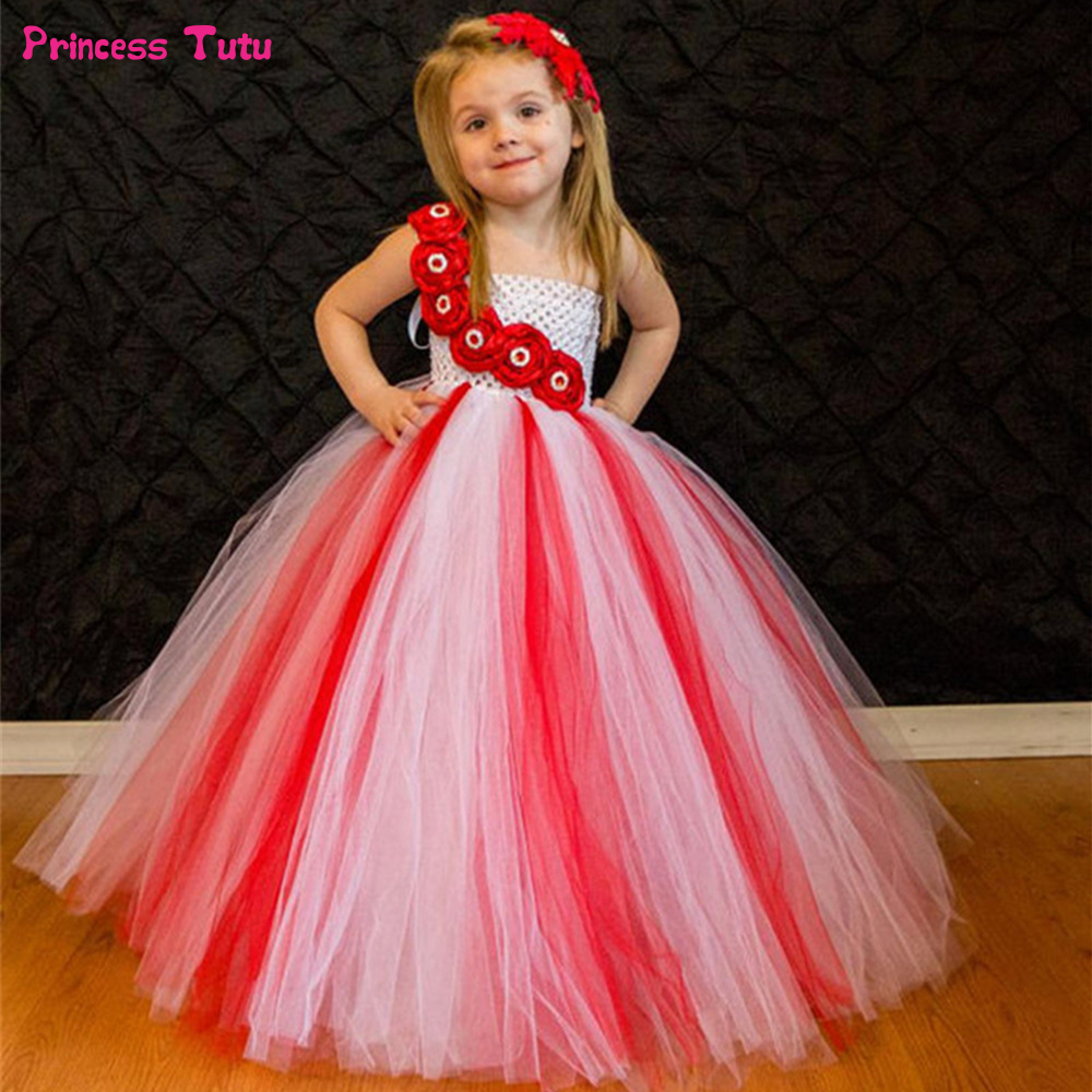 White With Red Flower Girls Tutu Dress Princess Christmas Costumes Children Wedding Tulle Dress Kids Girls Party Ball Gown Dress hot sale fashion baby girls dress small jacket flower lace tutu princess party dress pink white red purple children clothing