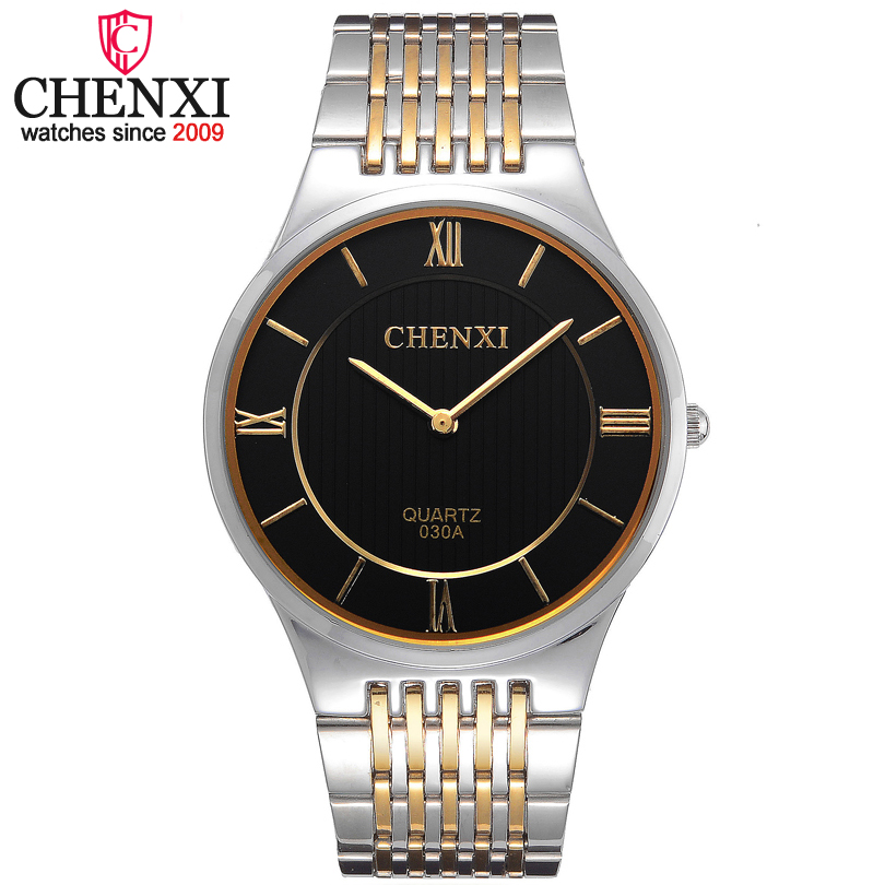 CHENXI Brand Leisure Fashion Quartz Gentleman Watch Golden Stainless Steel Man Wristwatch Super Slim Case Quartz Male Watches
