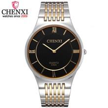 CHENXI Brand Leisure Fashion Quartz Gentleman Watch Golden Stainless Steel Man Wristwatch Super Slim Case Quartz Male Watches