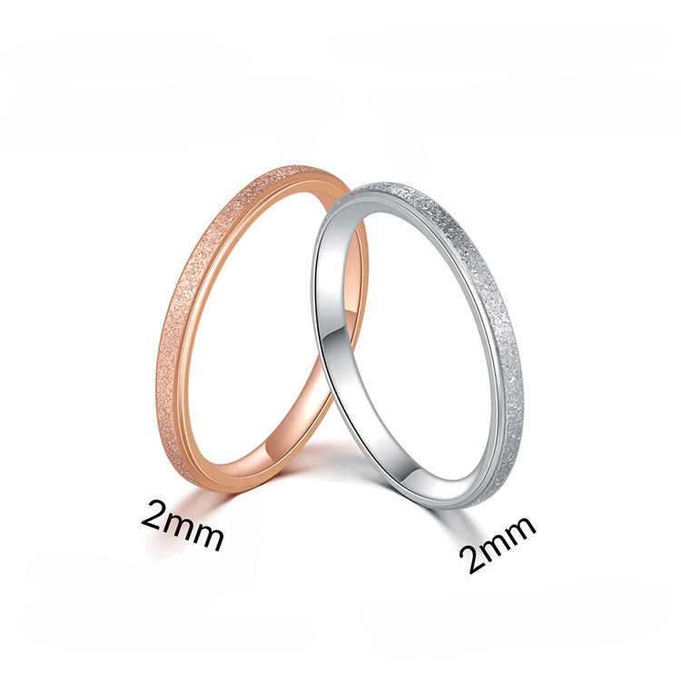 Simple sandy Stainless Steel Silver Ring Engagement Ring Couple Rings Fashion Jewelry Womens Accessories Anillos Mujer
