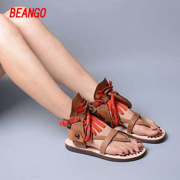 BEANGO Flip Flops Summer Shoes Woman Buckle Gladiator Sandals Casual Flats Platform Shoes Tassels Sandals Genuine Leather Shoes phyanic 2017 gladiator sandals gold silver shoes woman summer platform wedges glitters creepers casual women shoes phy3323