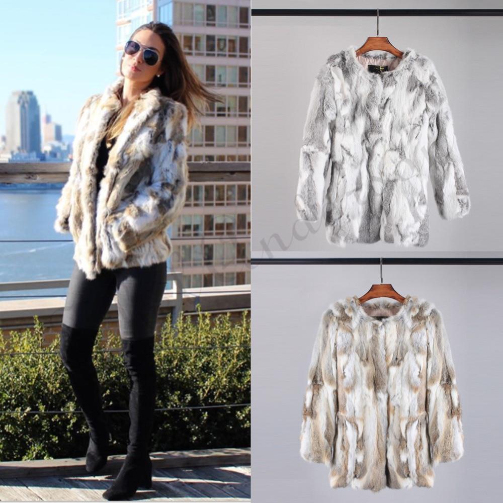 Ethel Anderson Real Farm Rabbit Fur Coat Striped Pattern Full Length Sleeve Coat Hip-Length Outwear