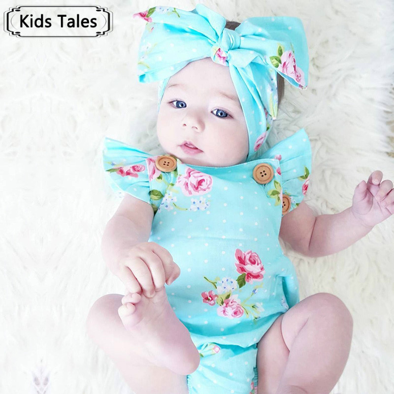 2 pcs / set Summer 2018 Cute Baby Girls Floral Sleeves Sliders + Headband Summer Women's Beach Suit Clothes Outfits Set SR162