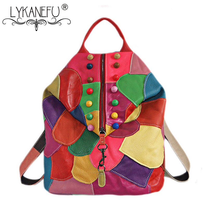 LYKANEFU Genuine Leather Bags for Women Backpack Colorful School Backpacks for Teenage Girls Women Bag Patchwork