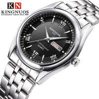Relojes hombres 2019 nueva marca Kingnuos de acero a prueba de cuarzo Reloj de pulsera para hombres Saat fecha semana luminosa hora Reloj Hombre