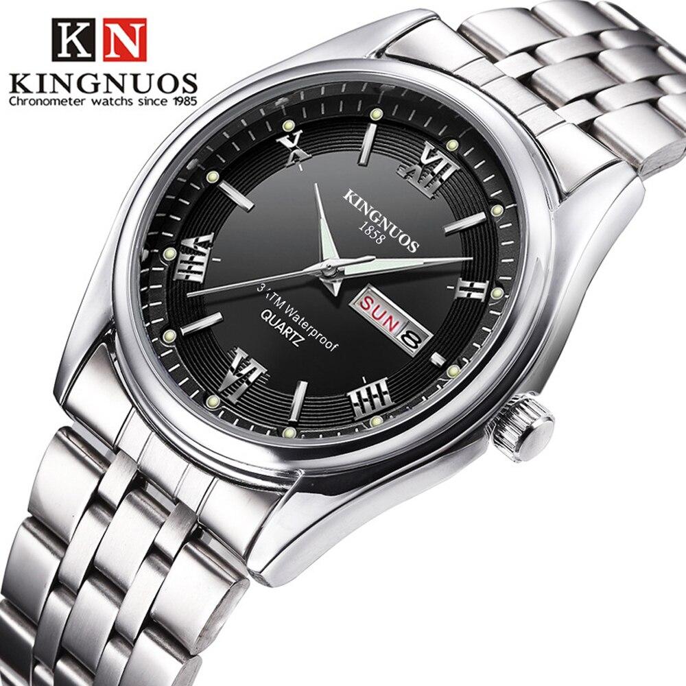 Hommes montres 2019 tout nouveau Kingnuos acier étanche montre-bracelet à Quartz pour hommes Saat Date semaine affichage heure lumineuse Reloj Hombre