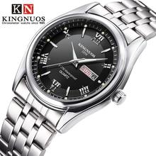 Мужские часы 2018 абсолютно новые Kingnuos стальные водостойкие кварцевые наручные часы для мужчин Saat Дата Неделя дисплей светящийся час Reloj Hombre