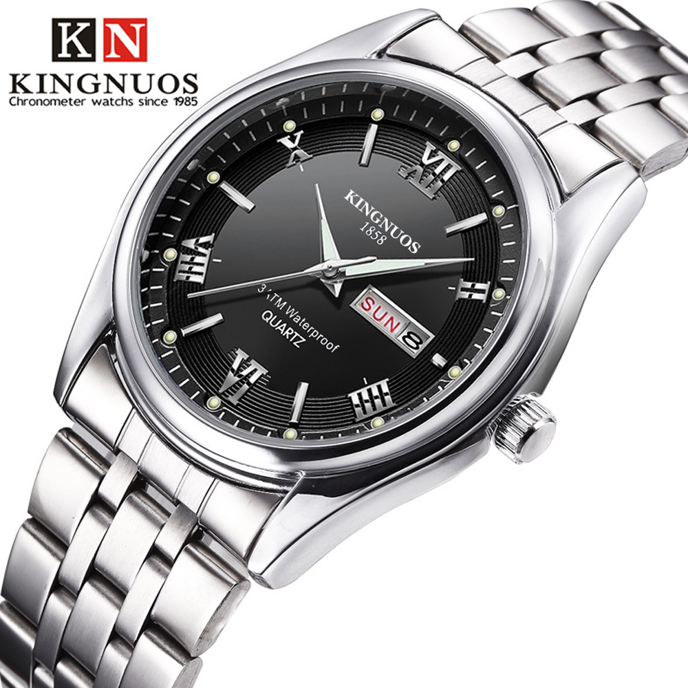 Men Watches 2019 Brand New Kingnuos Steel Waterproof Quartz Wristwatch For Men Saat Date Week Display Luminous Hour Reloj Hombre