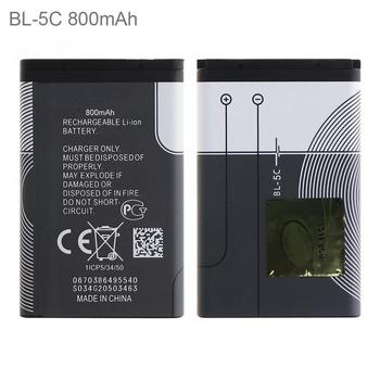 2pcs BL-5C 3.7V 800mAh Phone Built-in Rechargeable Li-ion Replacement Battery for Nokia 3100 N70 N72 N91 5130 7610 6030 6130 Комедон
