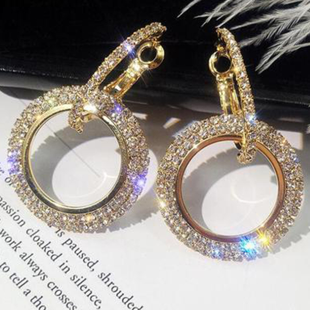 elegant crystal earrings gold silver color metal circle earrings round geometry drop earrings wedding party eardrop for woman