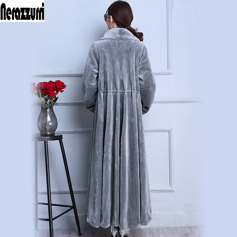 Nerazzurri Real Fur Coat Extra Long Gray Skirt Sheep Shearing Fur Coat Thick Winter Sheared Lamb Fur Overcoat Plus Size 5xl 6xl