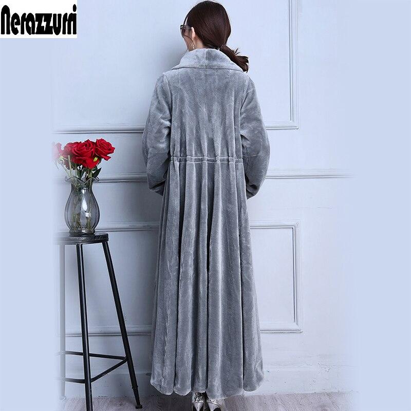 Nerazzurri натуральное меховое пальто X-Long серая юбка овечья шерсть пальто с мехом Толстое Зимнее овечье стриженное пальто плюс размер 5xl 6xl 7xl