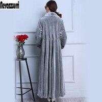 Nerazzurri Real fur coat X Long Gray Skirt Sheep Shearing Fur Coat Thick Winter Sheep Sheared Overcoat Plus Size 5xl 6xl 7xl