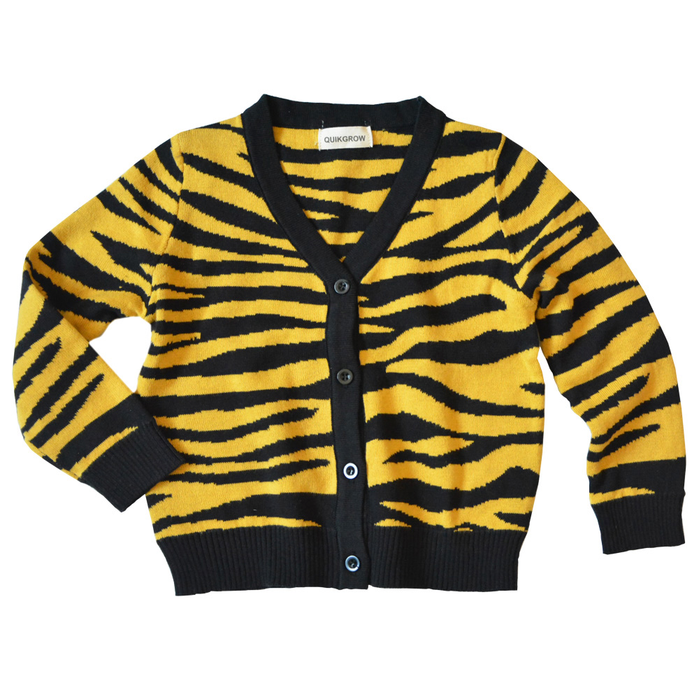 QUIKGROW Tiger Stripes Infant Baby Boys Girls Cardigan Sweater Long Sleeve V-neck Knitted Spring Autumn Outwear YM15MY