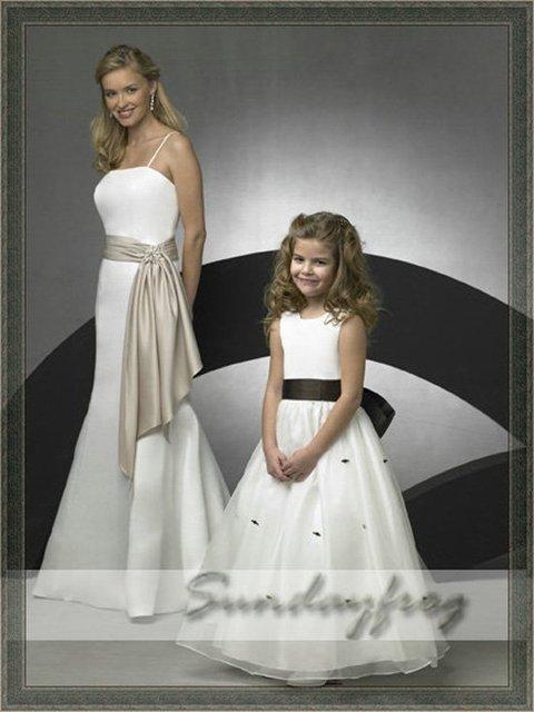 Free Shipping Custom Made A-Line Flower Girl Dress Floor-length Organza Sash First Communion Dress Wedding Party Dress -FL154