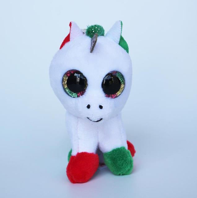 2018 New TY Beanie Babies Candy Cane the Green Red Feet Unicorn Clip  Keychain Clip Cinder Pendant Plush Toys Gifts 2b28b037632