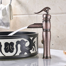Antique Copper Water Pump Look Style Single Hole Basin Faucet Deck Mounted Single Handle Hot And Cold Water Tap ZD518 цена