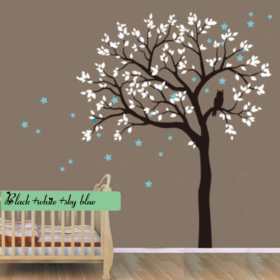 compare prices on tree wall vinyl decals online shopping buy low owl hoot star tree wall stickers vinyl decal kids nursery baby room decor art huge tree