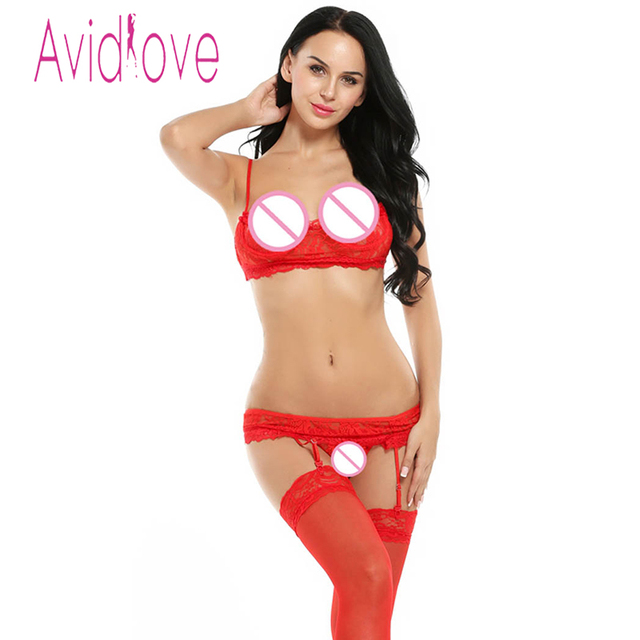 Avidlove  Underwire Sheer Lace Bra G-string Set + Garter Belt/ Stockings