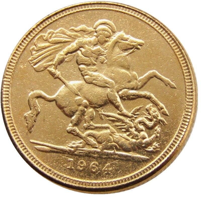 1964 Regina Fd Elizabeth Ii Dei Gratia Gold Plated 1 Sovereign Copy Coin Wholesale In Non