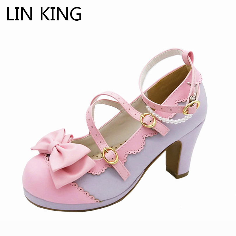 LIN KING Sweet Bowtie Round Toe Buckle Lolita Shoes New Style Summer fashion sexy lady pumps women shoes High Heel Party Shoes t strap round toe women lolita wedge high heel shoes new 2017 side open japanese style wedges with buckle straps free shipping