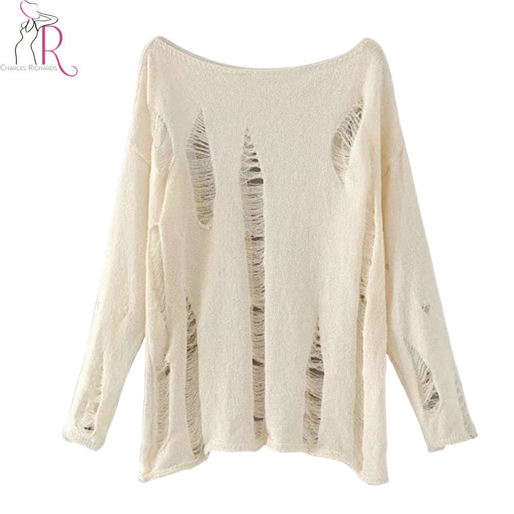 Online Shop Autumn Ripped Knitted Jumper Women Long Sleeve O Neck ...