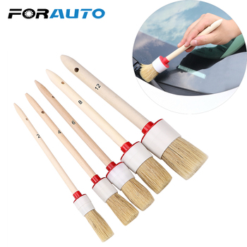 FORAUTO Car Wash Interior Dashboard Brush Rims Wheel Cleaner Air-Conditioning Engine Brush Soft Bristle Wood Handle Auto Care image