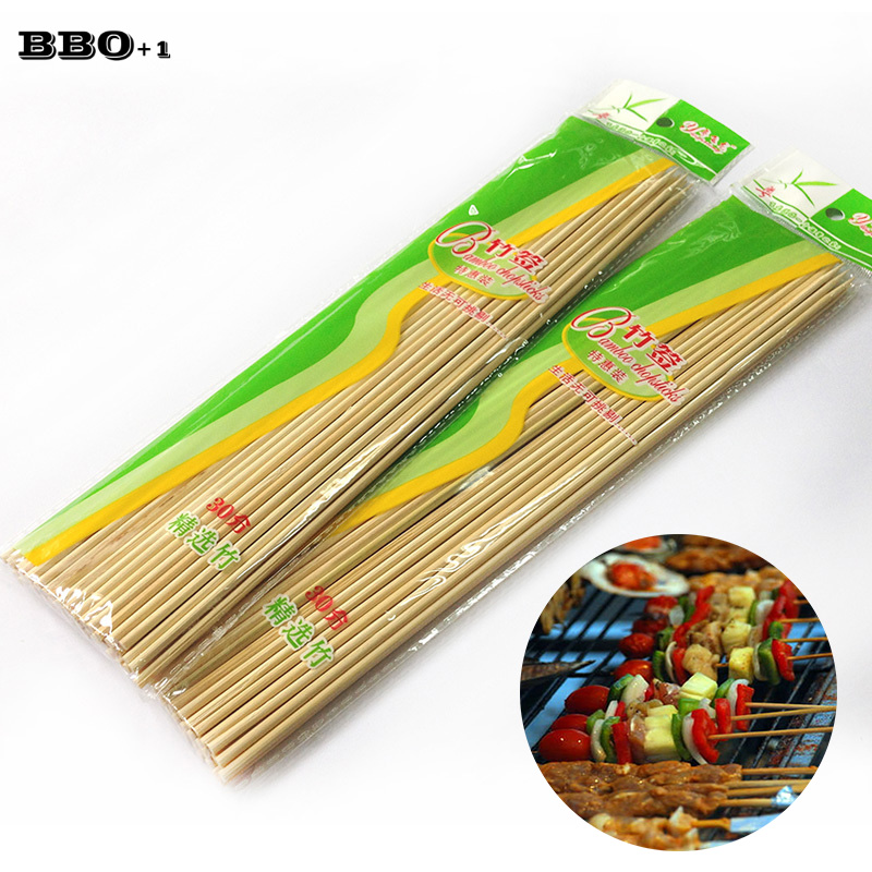 BBQ Accessories Bamboo Skewers 30cm(12'') Disposable Sticks Natural Bamboo Skewers Palitos Manualidades Brocheta  BBQ Tools