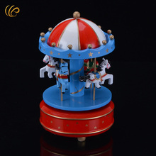 Christmas Gifts Go-round 4-horses Carousel Music Box Good Quality Handmade Music Box for Room Decoration