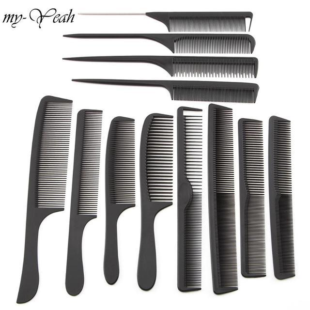 12 estilo Anti-estática peluquería peines desenredar el pelo recto cepillos chicas Cola de Caballo peine Pro salón de pelo que labra la herramienta