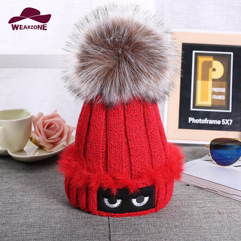 Brand 2016 Women Spring Winter Hats Beanies eyes embroidery Knitted Cap Crochet Hat Fur Pompons Ear Protect Cap Chapeu Feminino winter women beanies pompons hats warm baggy casual crochet cap knitted hat with patch wool hat capcasquette gorros de lana