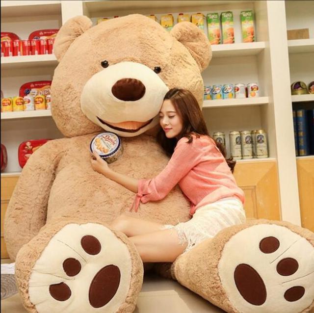 بيع لعبة كبيرة الحجم 200 سنتيمتر الأمريكية العملاقة الدب الجلد ، تيدي بير معطف ، نوعية جيدة سعر المصنع لعب لينة للفتيات