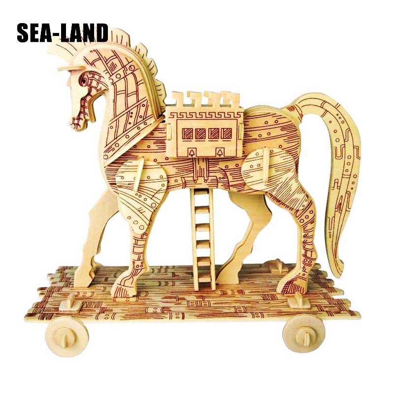 Cavallo Di Legno Giocattolo.Giocattoli Per Bambini Di Legno 3d Di Puzzle Per I Bambini Cavallo