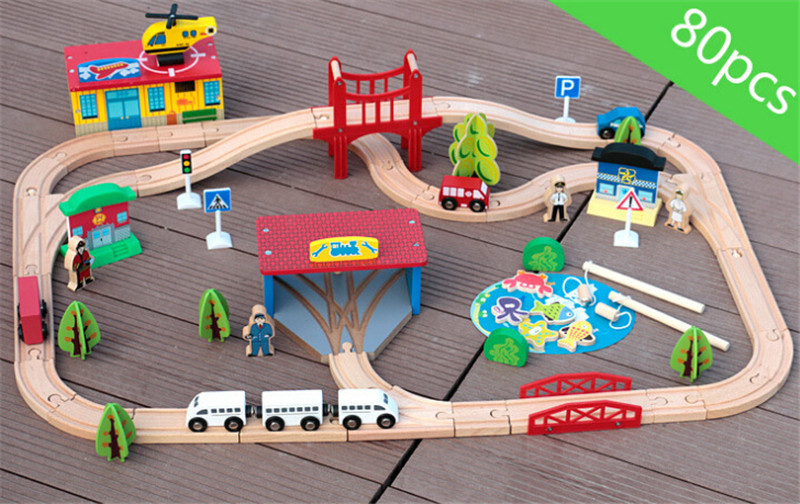 New wooden toy Kids Fun Railway Baby toy 80 piece