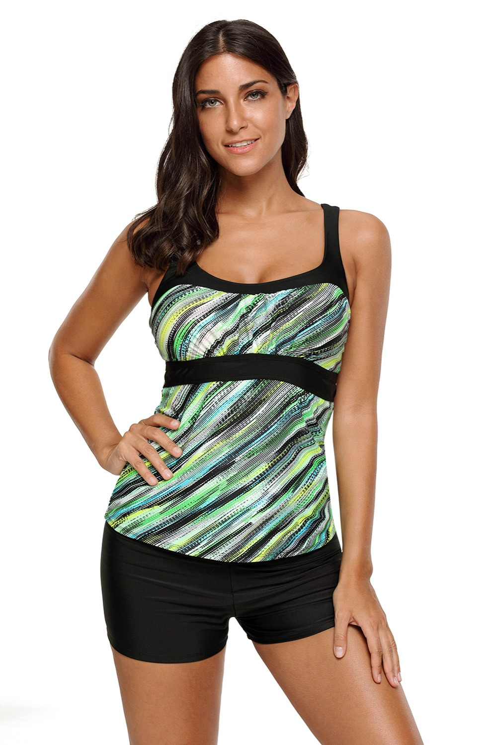 326601c92d4 2019 2XL 3XL Plus Size Swimsuit Top Blue Abstract Printed Camisole ...