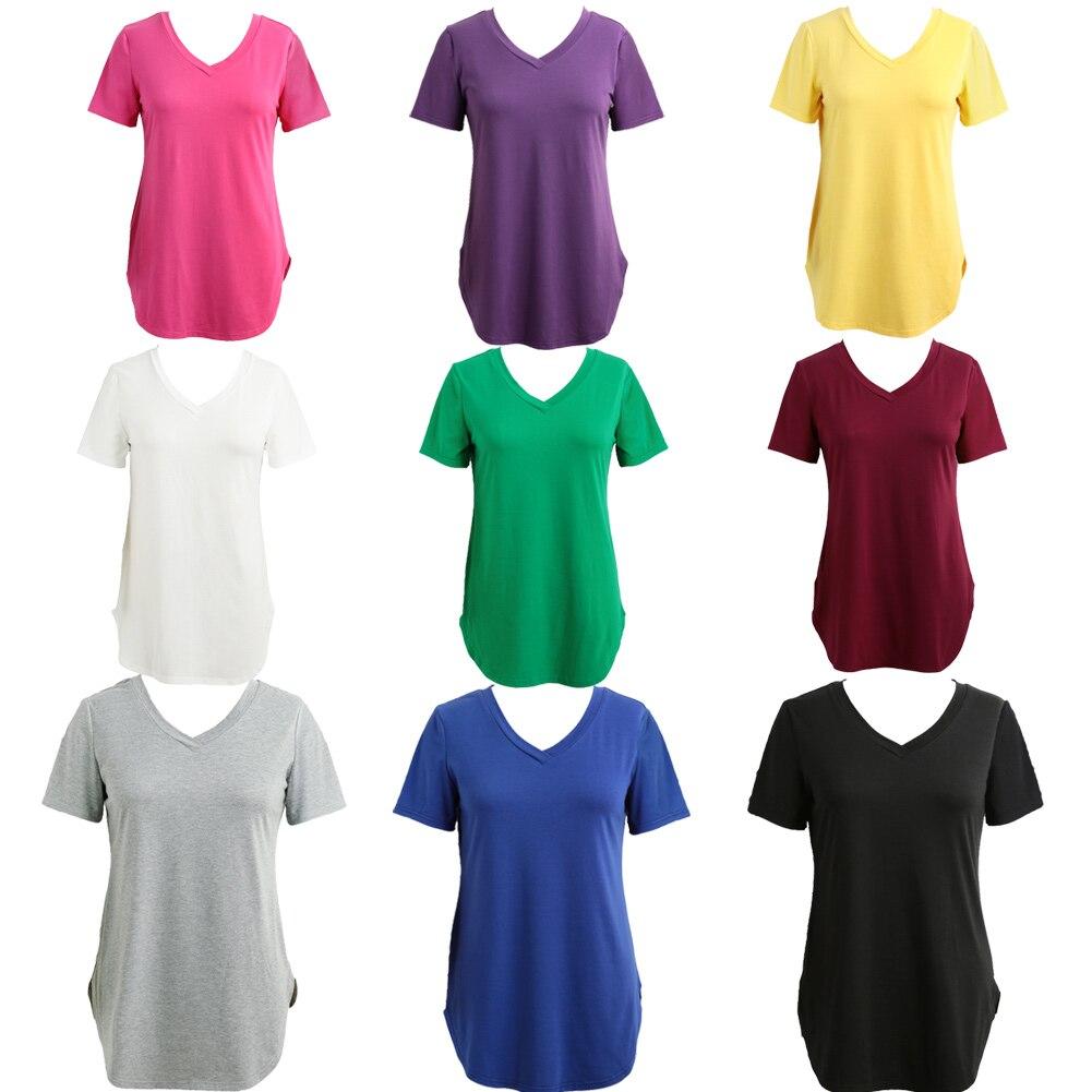 Verão 3XL 4XL 5XL Plus Size T-shirt Das Mulheres Tops Casual túnica feminina Camiseta V Neck Manga Curta Tamanhos Grandes tshirt longo Oversize