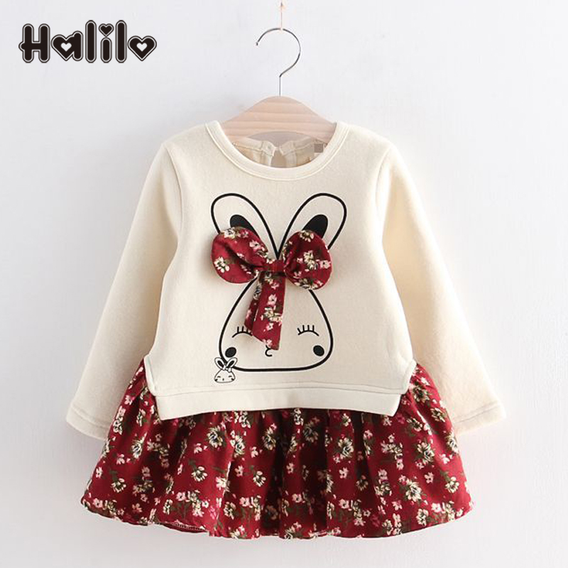 Halilo Kids Wholesale Long Sleeve Girl Dress Floral Print Princess Girls Christmas Party Rabbit Children Cloth Bow Brushed Dress