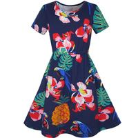 Girls Dress Pineapple Leaf Flower Parrot Tropical Sundress Cotton 2017 Summer Princess Wedding Party Dresses Clothes