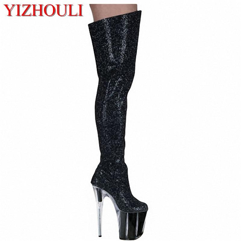 Genou Femmes Le Dans Plate argent Yan Cm Talons Danse Les Discothèque Étanche Noir Haute forme Épais 20 Danse Chaussures Banquet De qgFATWf