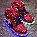 Crianças Sapatos Leves de Carga Usb Meninas Sapatas Dos Miúdos Cores Luz Led Luminoso Meninos Tênis Esportivos Criança Sapatos Respirável Tamanho 29-34