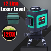 3D Green Laser Level Self Leveling 50 Times Wide Applications 360 Rotary Cross Measure 12 Lines for Alignment Precise Mobility